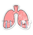 distressed sticker a cartoon lungs crying vector image vector image
