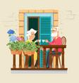 elderly couple on balcony neighborhood stay home vector image vector image
