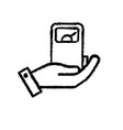 figure hand with gas machine to environment care vector image