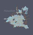 Flat map houston city texas roads