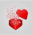 gift box and hearts confetti isolated on vector image