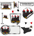 glossy icons with flag of edinburgh vector image vector image