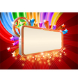 Glossy marquee with colorful stars background vector image vector image