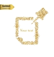 Gold glitter icon of Push Pin isolated on vector image