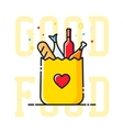 Good Food Paper Bag with Heart Symbol Bread Wine vector image