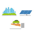 green city concept solar panel electric vehicle vector image vector image