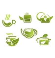 Green tea symbols set vector image vector image