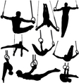 Gymnastics Rings Silhouettes vector image vector image