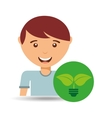 happy boy plant environment sign vector image