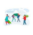 happy people carries christmas trees characters vector image vector image