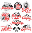 hiking mountain exploration emblems handwritten vector image