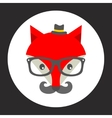 Hipster fox label vector image