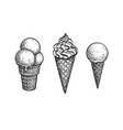 ink sketch ice cream cones vector image vector image
