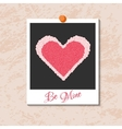 instant photo card with heart from red vector image vector image
