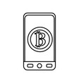 line smartphone with bitcoin currency symbol vector image vector image
