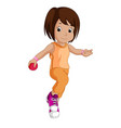 little girl with a pink ball vector image vector image