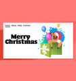 little ox in santa hat sitting in gift box happy vector image vector image