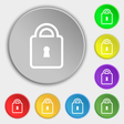 Lock icon sign Symbol on eight flat buttons vector image vector image