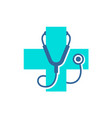 medical care cross logo with stethoscope equipment vector image vector image