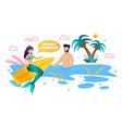 mermaid surfing and man swim in sea flat cartoon vector image