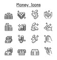 money cash coin bank note icon set in thin line vector image vector image