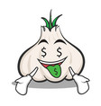 money mouth garlic cartoon character vector image vector image