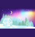 northern lights over winter forest and house vector image