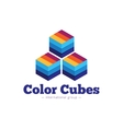 paper style multicolor cubes logo Flat vector image