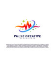 plus medical pulse or wave logo design concept vector image