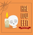 poster halloween with skull and candle vector image vector image