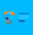 realistic detailed 3d sun bed chair card vector image
