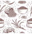 rice seamless pattern hand drawn bowl with rice vector image vector image