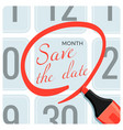 save the date poster with red circle mark on vector image vector image