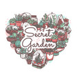 secret garden hand drawn greeting card vector image vector image