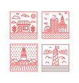 set of city in trendy linear style vector image