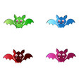 set of cute funny multi colored bats isolated on vector image