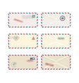 set stamped letter envelopes mockups realistic vector image vector image