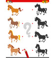 shadow game with cute horse characters vector image vector image