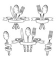 silverware cutlery dinner table utensils knife vector image