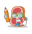 student with pencil meat character cartoon food vector image