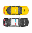 top view police and taxi cars vector image