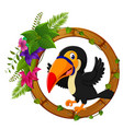 toucan on round wood frame with flower vector image