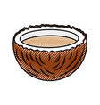 tropical coconut cocktail icon vector image vector image