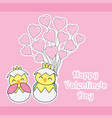 valentines day card with cute chicks bring love vector image vector image