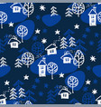 xmas forest with houses seamless pattern vector image vector image