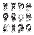 Zodiac Signs Icons Set Monochrome vector image vector image