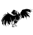 Hand drawn watercolor cock crowing and flittering vector image