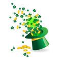 shamrock coin and magic hat vector image
