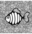 Doodle pattern with black and white fish image for vector image