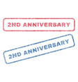 2nd anniversary textile stamps vector image